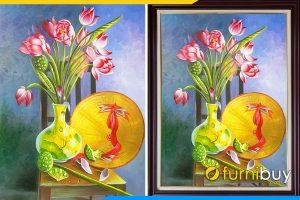 Tranh son dau tinh vat non la hoa sen viet nam AmiA SD91911