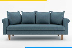 ghe sofa bang dai ke phong khach boc ni mau xanh