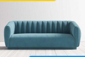 ghe sofa bang dai ke phong khach boc ni mau xanh pastel